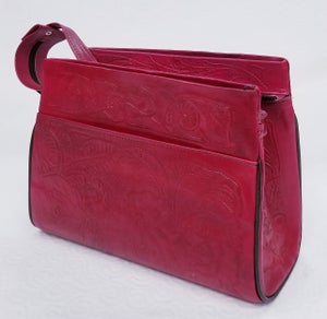 Image of Red Colored Hand-Tooled Leather Triple Zipper Bag