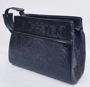 Image of Black Colored Hand-Tooled Leather Triple Zipper Bag