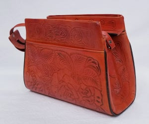 Image of Orange Colored Hand-Tooled Leather Triple Zipper Bag