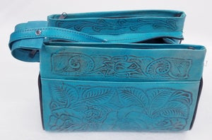 Image of Turquoised Colored Hand-Tooled Leather Triple Zipper Bag