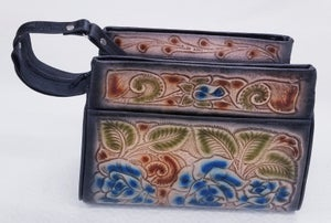 Image of Black with Blue Roses Hand-Tooled Leather Triple Zipper Bag