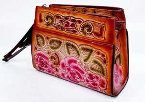 Image of Brown with Pink Roses Hand-Tooled Leather Triple Zipper Bag