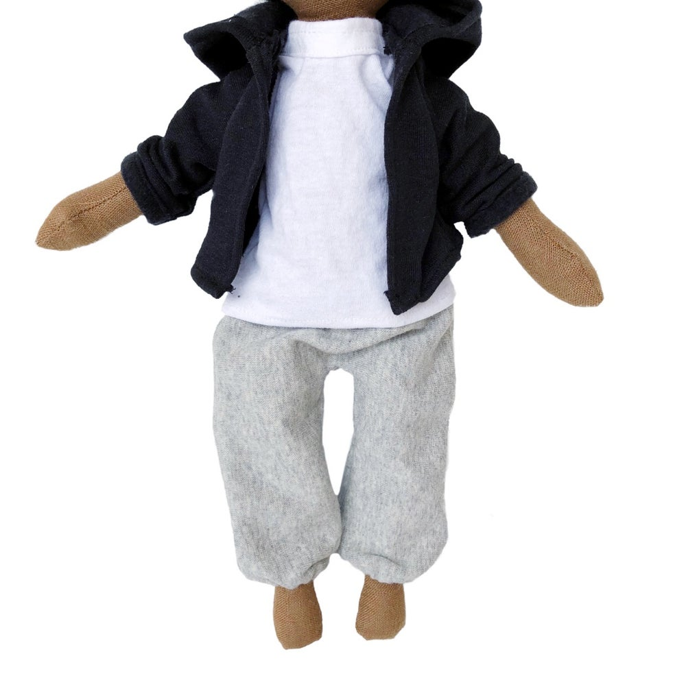Image of 3pc sweatsuit outfit black /grey - Doll Accessory