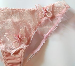 Image of PHYLLIS Powder Pink Butterfly lace Peek a boo panty