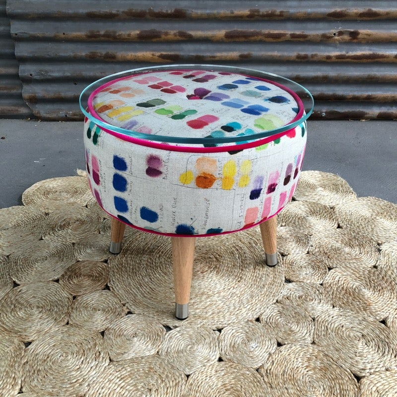 Image of Deran Glass top Side table / Footstool