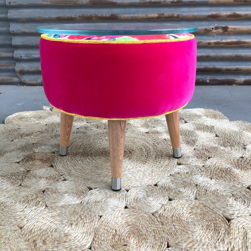 Image of Beverley Glass top side table / Footstool