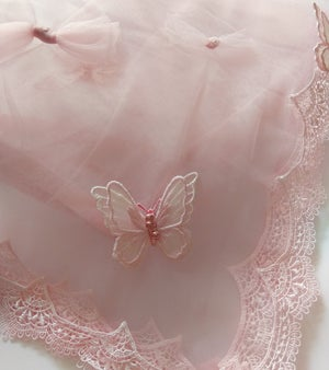 Image of PHYLLIS Powder Pink silk tulle Butterfly Half Slip