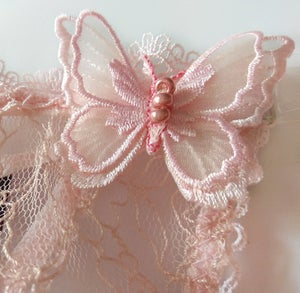 Image of PHYLLIS Powder Pink Butterfly Guipure Lace Thong
