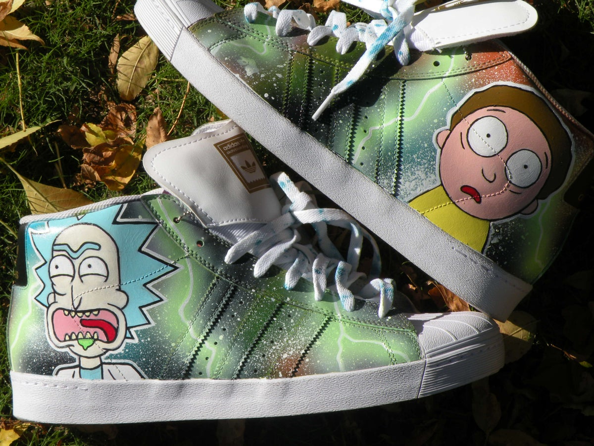 Image of Rick   Morty custom Adidas superstar high 102932831