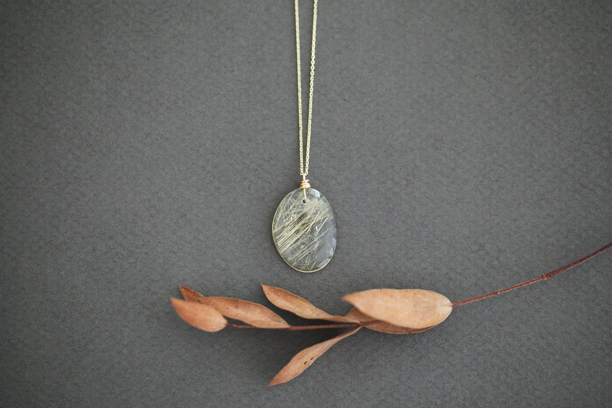 Image of *NEW* Rutilated Quartz gold necklace