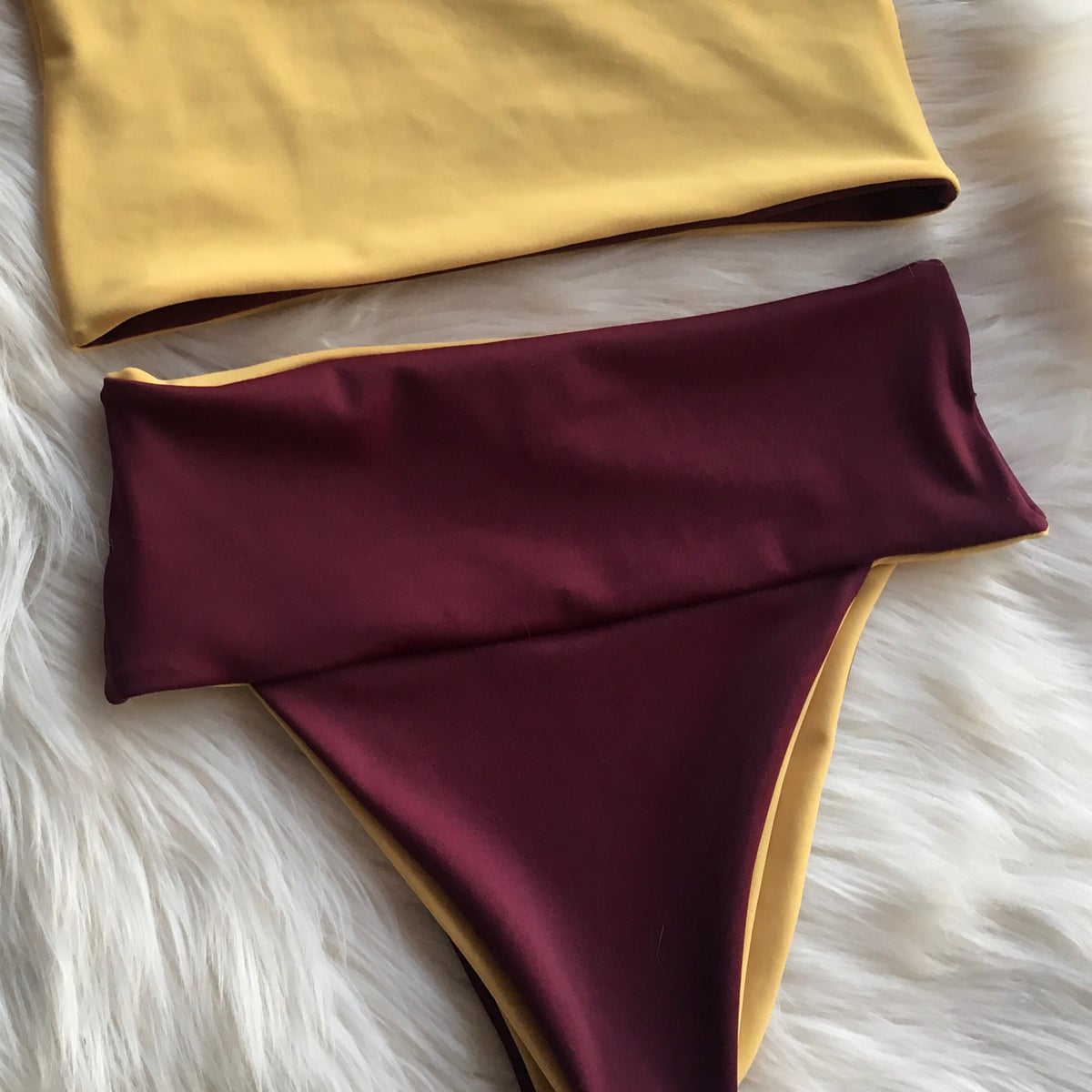 Image of ON THE RISE BOTTOMS : RETRO YELLOW X MAROON