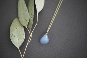 Image of *NEW* Faceted Chalcedony mineral 9ct gold necklace