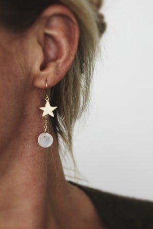 Image of Gold star and Moonstone earrings