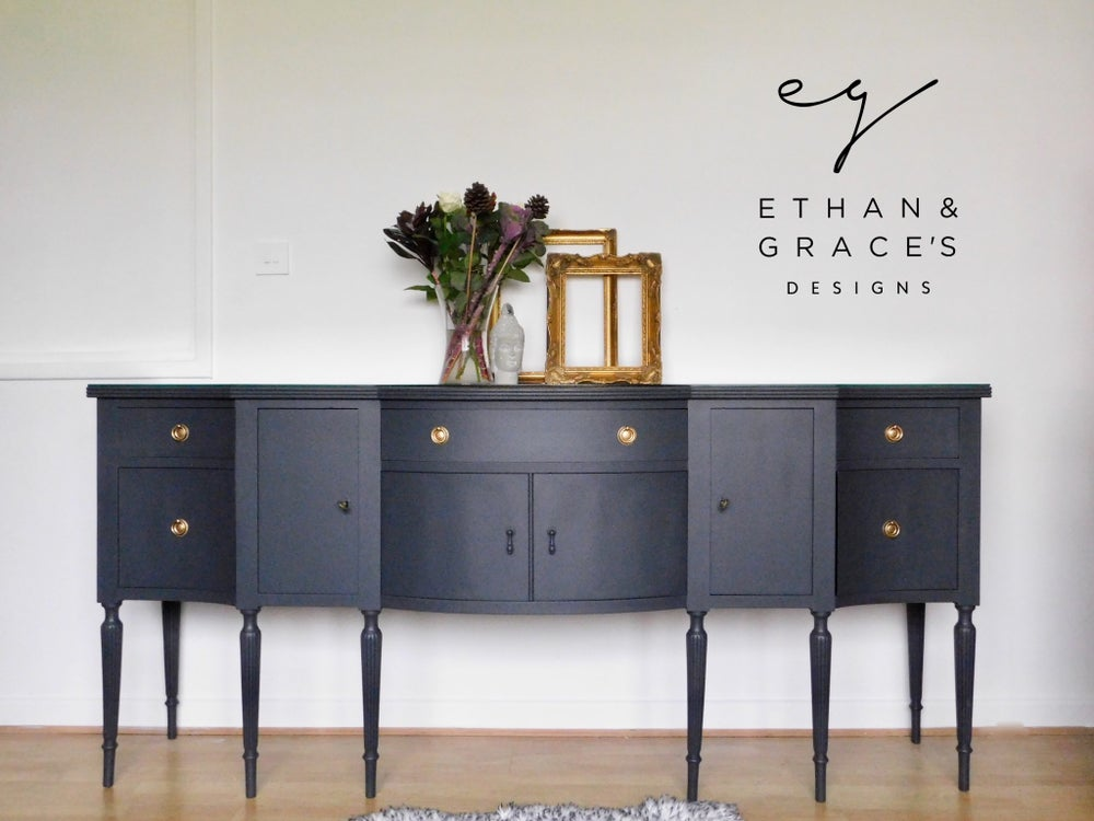 Image of Stunning dark grey wooden top sideboard