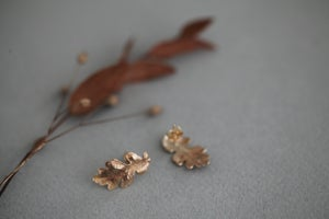 Image of Oak leaf stud earrings (in silver or 9ct gold)