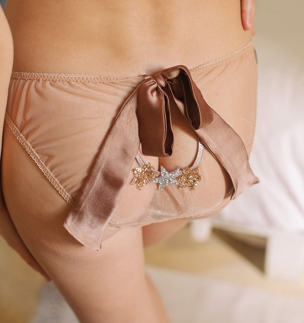 Image of MADDIE Tan silk satin and illusion mesh Bow knicker