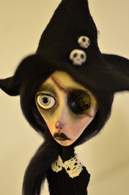 Image of OOAK Handmade art doll CANDACE. Witch doll, dark doll, gothic doll, skulls, witch hat
