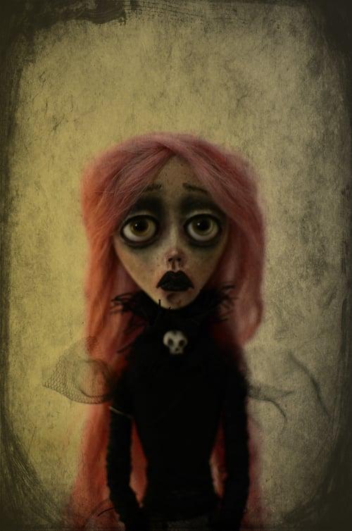 Image of RESERVED OOAK Handmade art doll MATILDA. Dark doll, bunny doll, dark surrealism, lowbrow