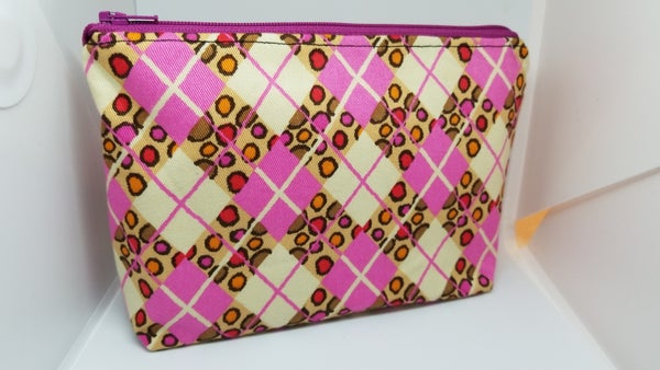 Image of Square pink make up bag