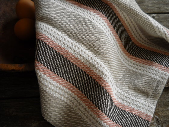 Image of Hand Woven Kitchen Towel, Woven Cotton Twill Taupe with Terracotta, Brown, White Stripes, Host Gift