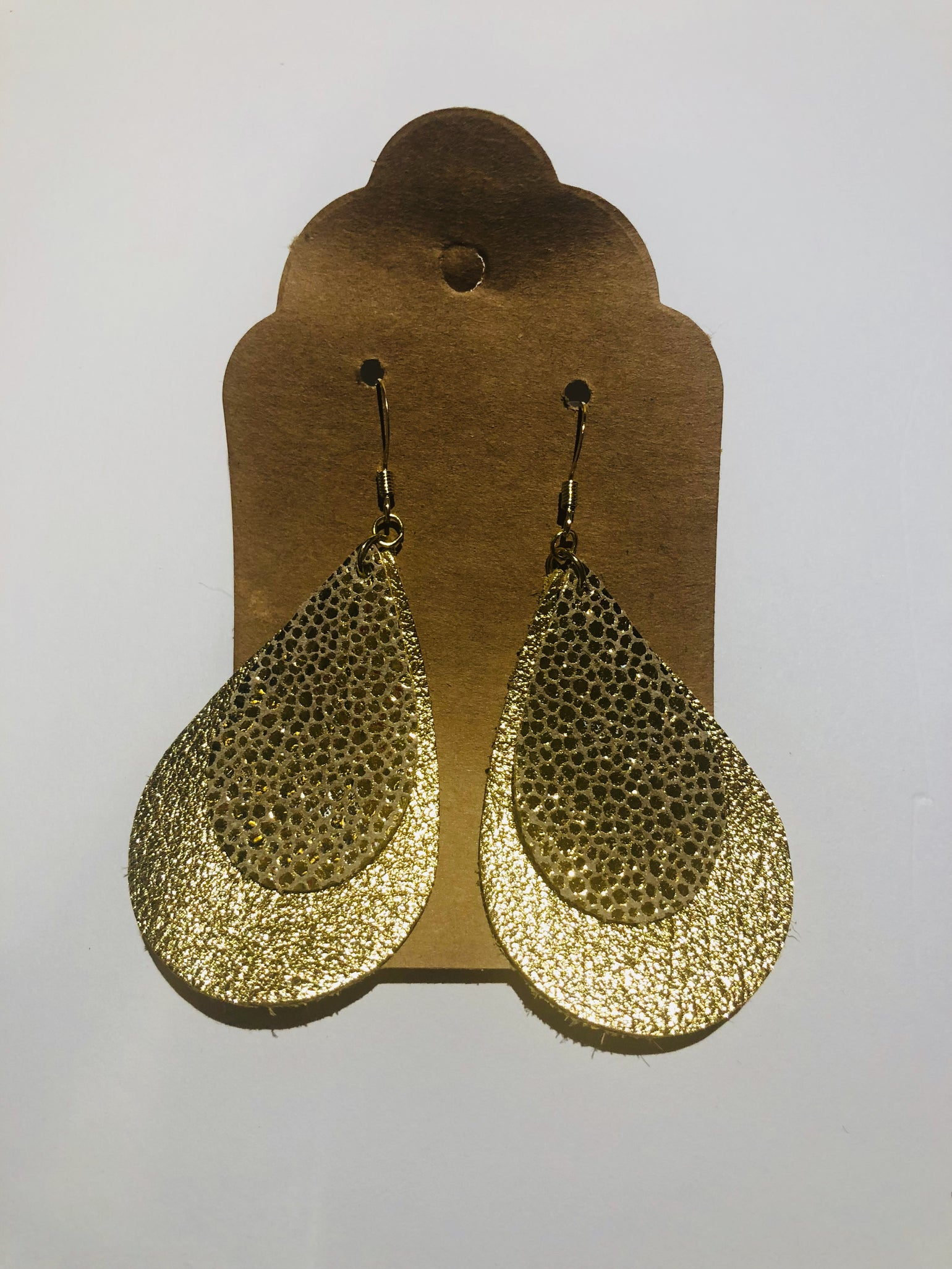 Image of Leather Earrings - Double Teardrop Gold with Gold Stingray