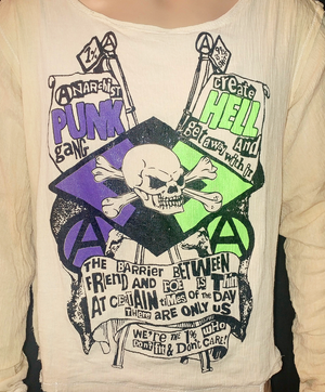 Image of Anarchist punk gang bondage shirt with black purple and lime ink oversized design
