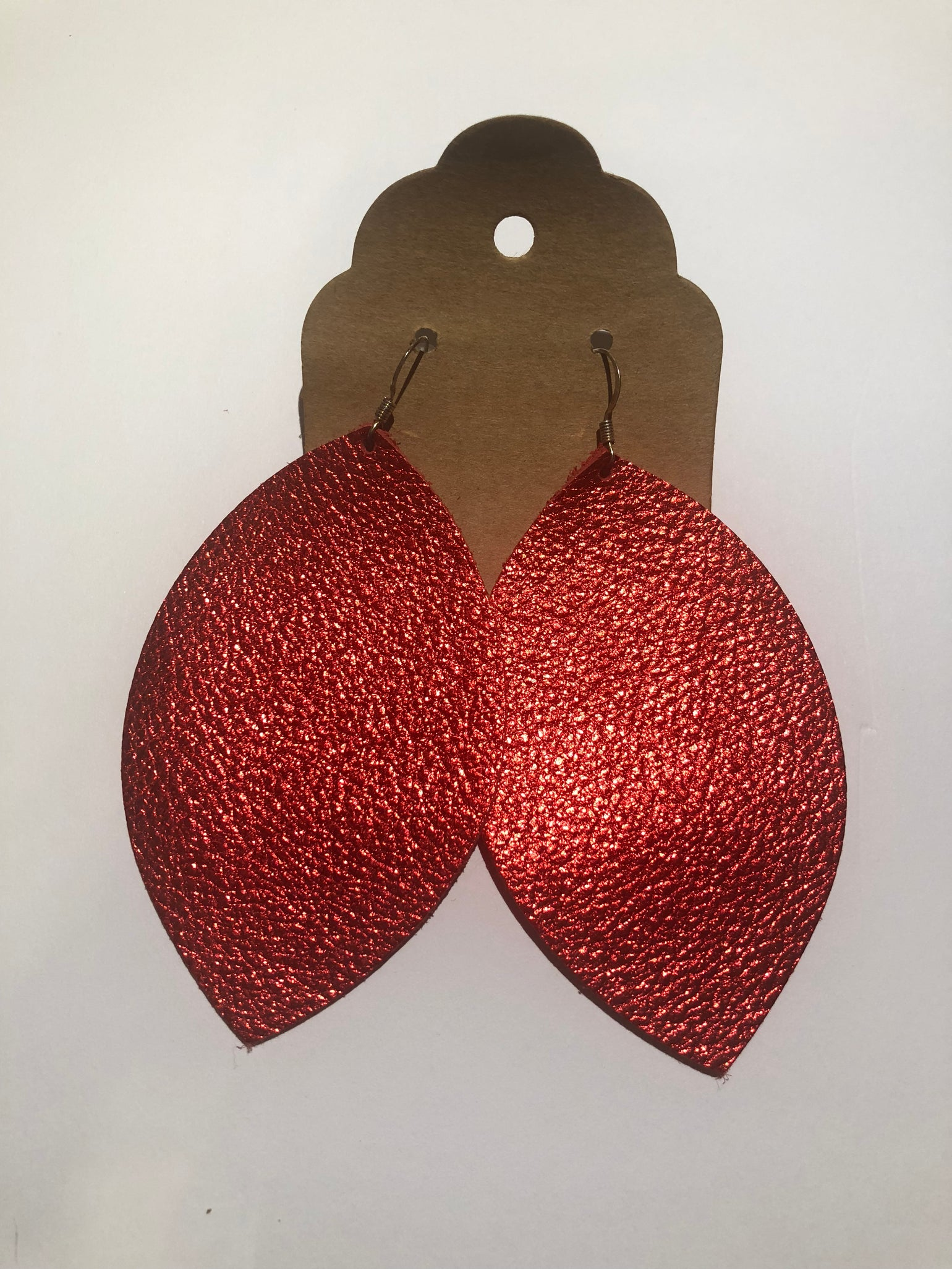 Image of Leather Earrings - Large Leaf Metallic Red
