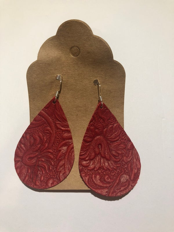 Image of Leather Earrings - Red Embossed Teardrop