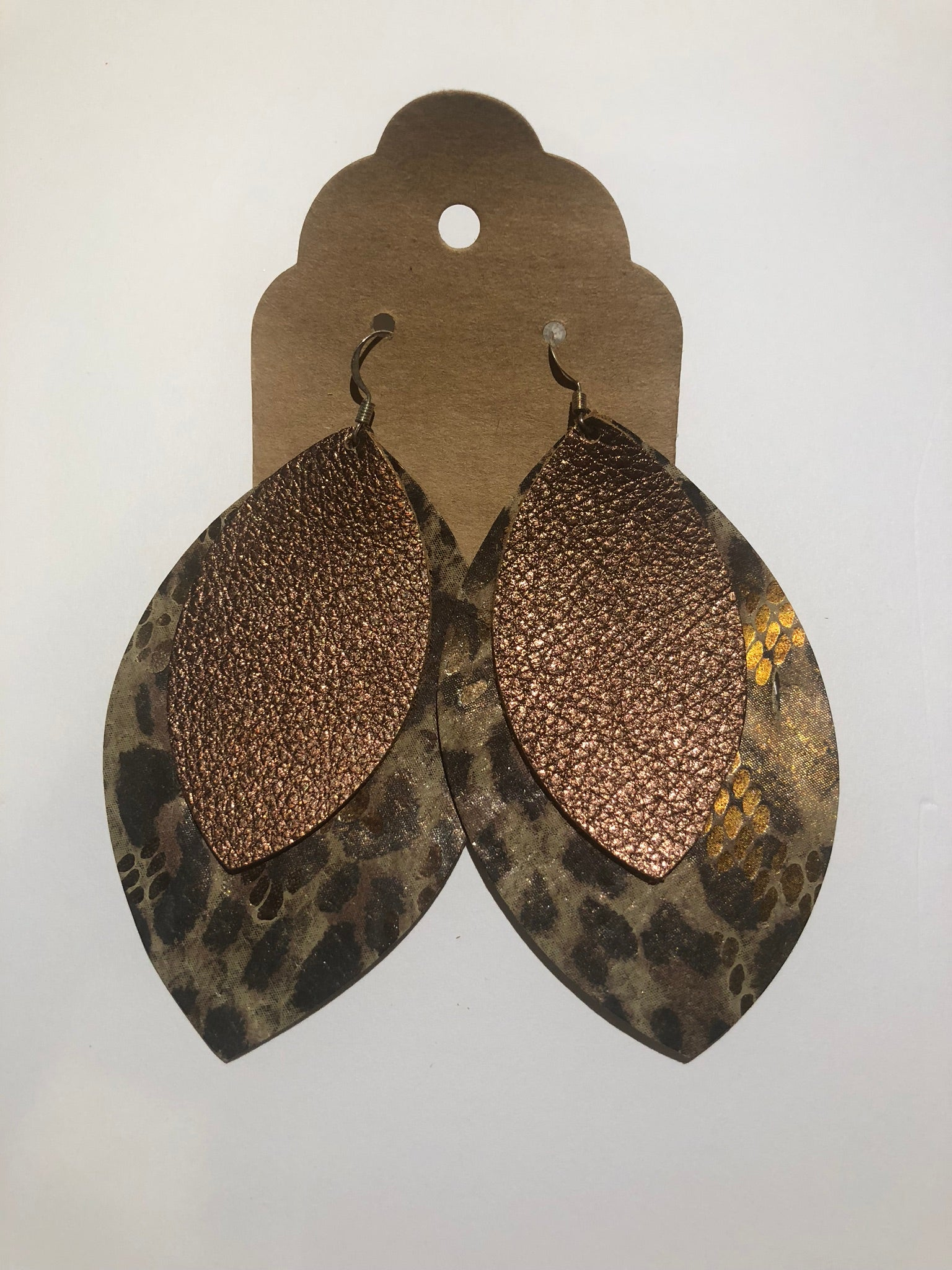 Image of Leather Earrings - Double Leaf Cheetah Print and Brown Metallic