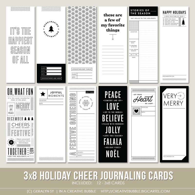 Image of 3x8 Holiday Cheer Journaling Cards (Digital)