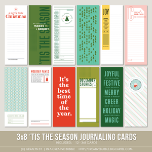 Image of 3x8 'Tis the Season Journaling Cards (Digital)