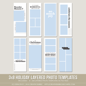 Image of 3x8 Holiday Layered Photo Templates (Digital)