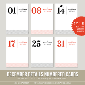 Image of December Details Numbered Cards (Digital)