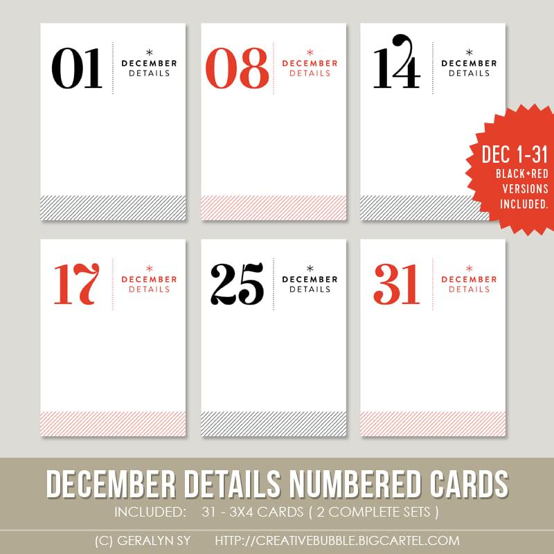 Image of December Details Numbered Cards (Digital)