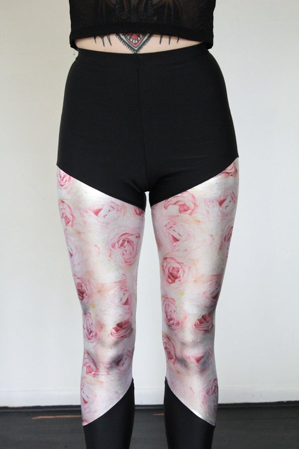 Image of Pink Metallic Rose Leggings