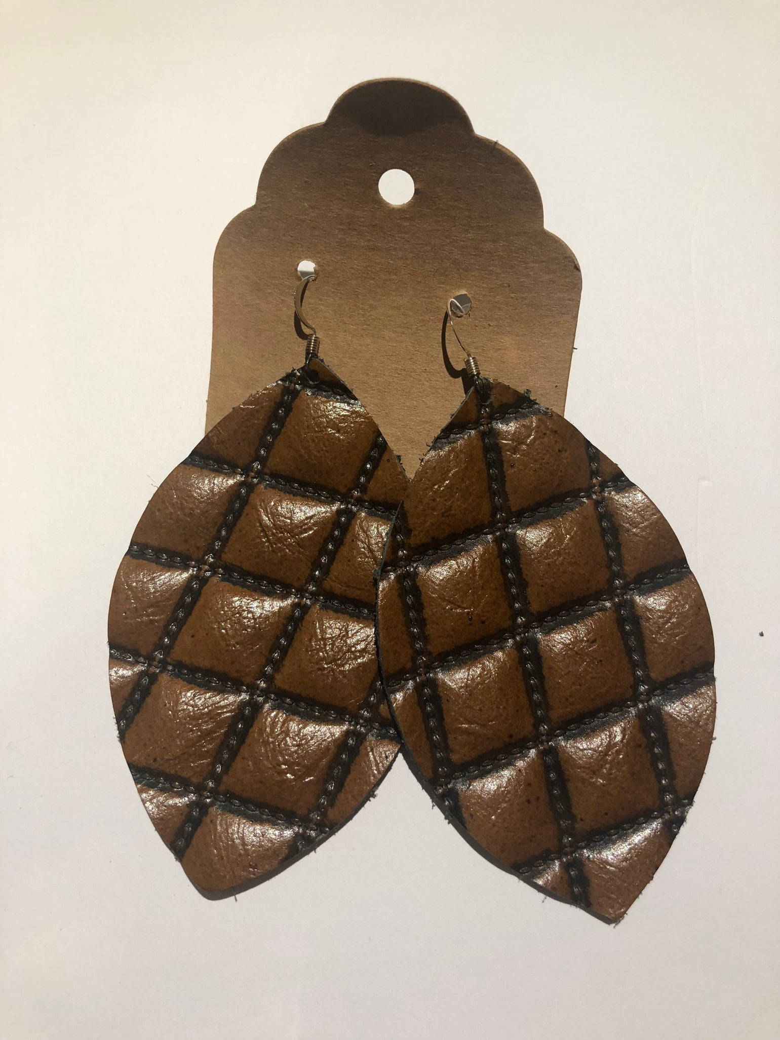 Image of Leather Earrings -  Large Leaf Quilted Brown