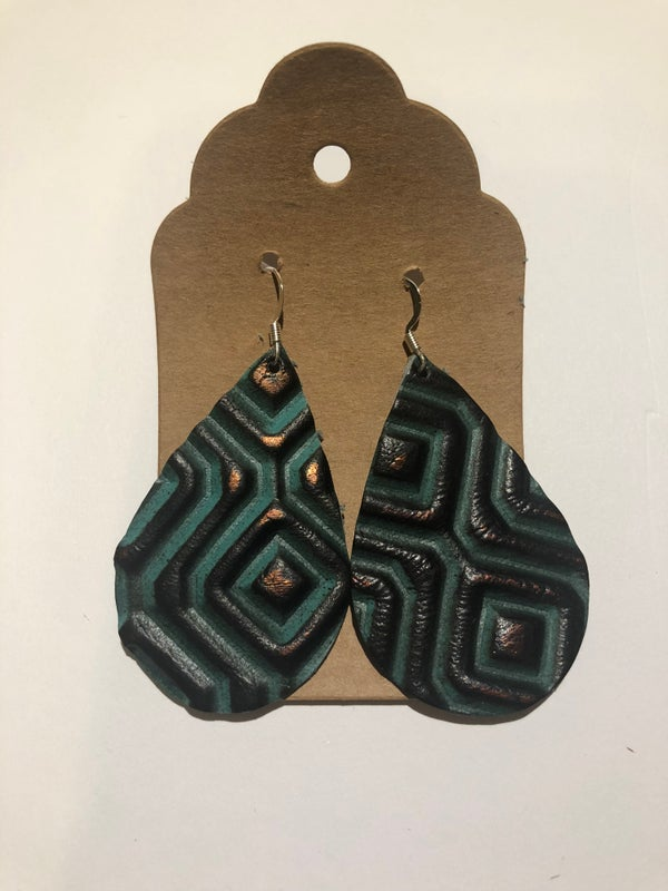Image of Leather Earrings - Teardrop Teal Diamond Embossed