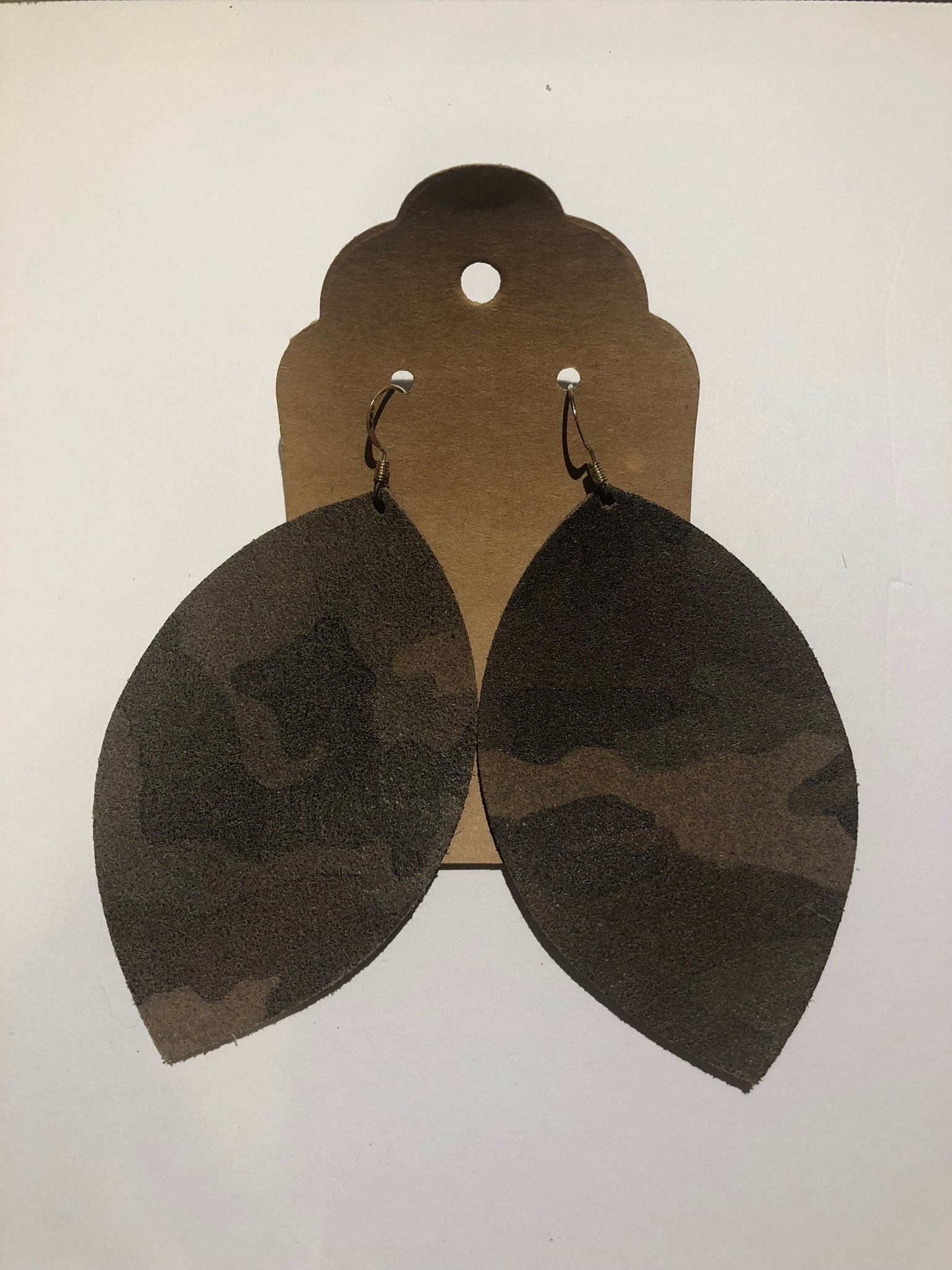 Image of Leather Earrings - Large Leaf Camo