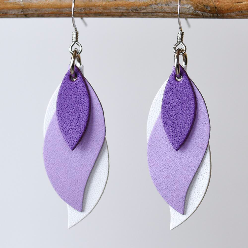 Image of Handmade Kangaroo leather leaf earrings - Purple, lilac, white [LPP-142]