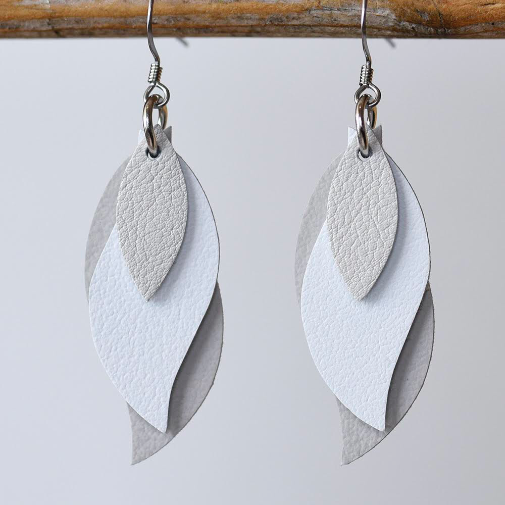 Image of Handmade Kangaroo leather leaf earrings - soft latte and off white [LNT-365]