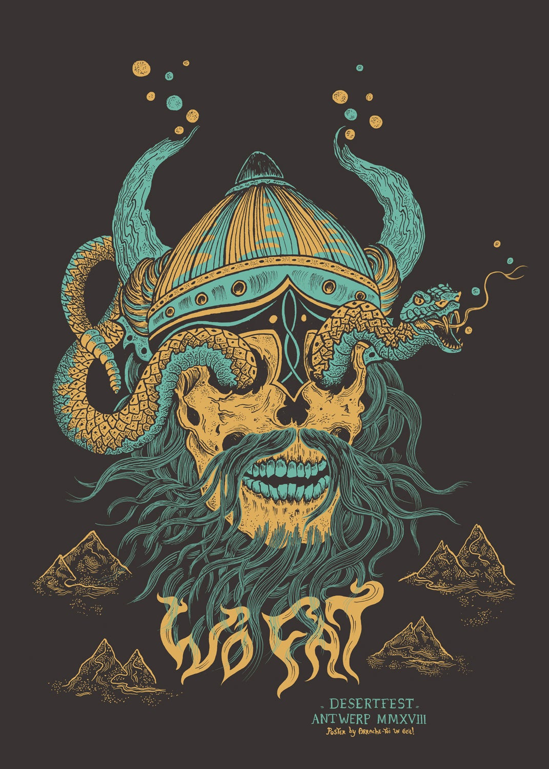 WO FAT (Desertfest Antwerp 2018) screenprinted poster