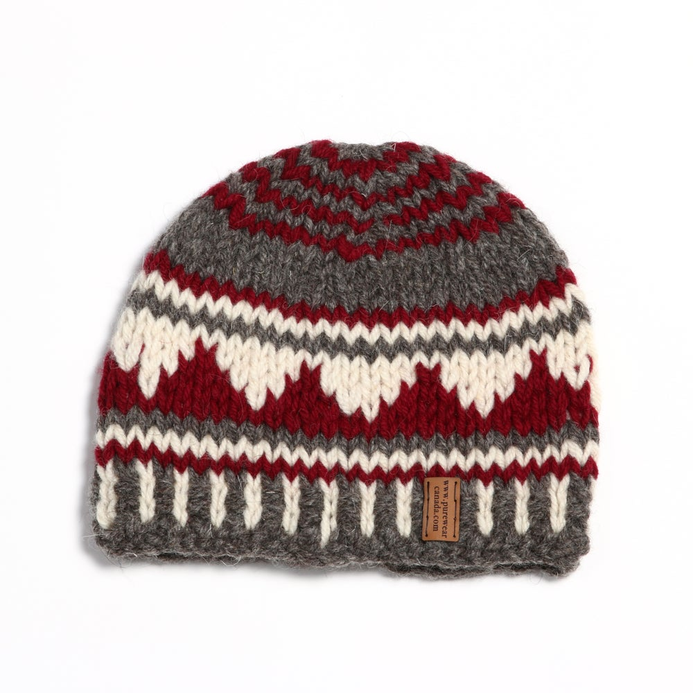 """Image of """"Mountain Silhouette"""" Chunky Toque (red)"""