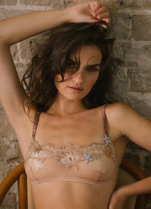 Image of MADDIE 'Star' Illusion Mesh and Chantilly lace Bandeau Bra