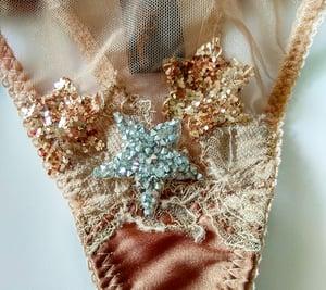 Image of MADDIE 'Star' silk satin and illusion mesh Thong