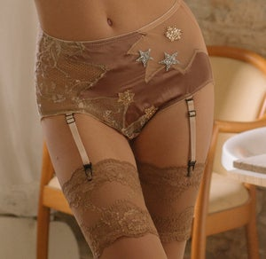 Image of MADDIE 'Star' silk satin and illusion mesh Suspender high brief