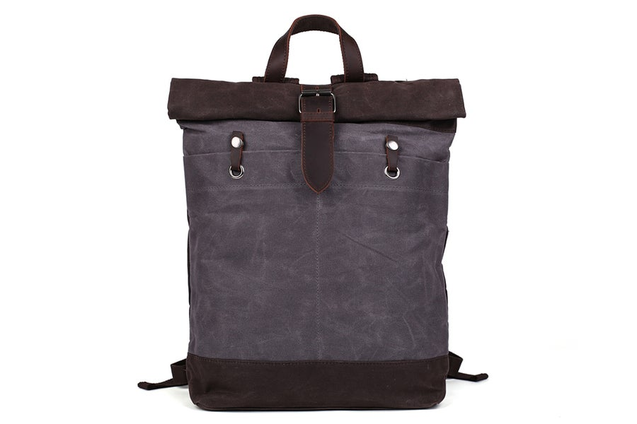 Image of Waxed Canvas Backpack with Leather Accents, Waterproof Canvas Travel Backpack, School Backpack
