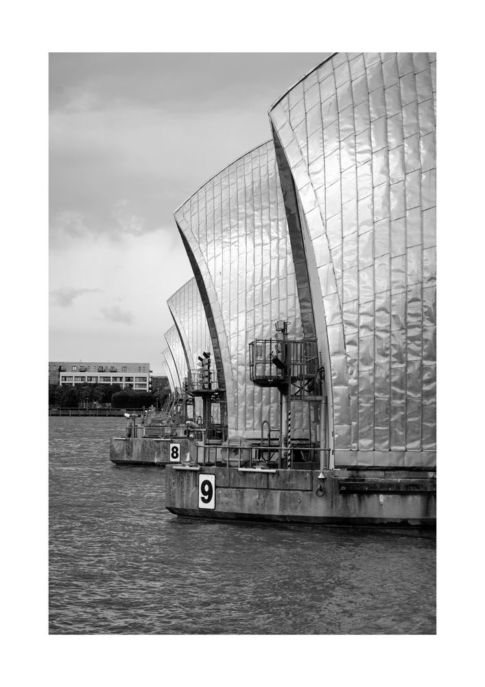 Image of Thames Barrier black and white print by Neil Clasper.