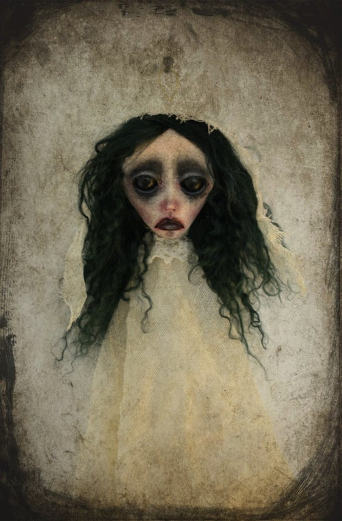Image of OOAK Handmade art doll head ornament ANNE. Ghost doll, dark doll, sad doll, gothic doll, goth doll