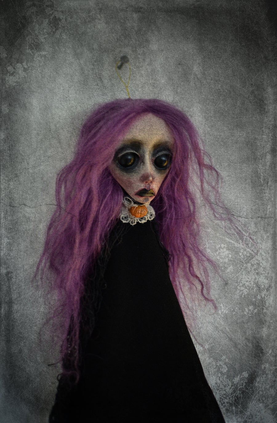 Image of OOAK Handmade art doll head ornament CATALINA. Ghost doll, dark doll, gothic doll, Halloween doll