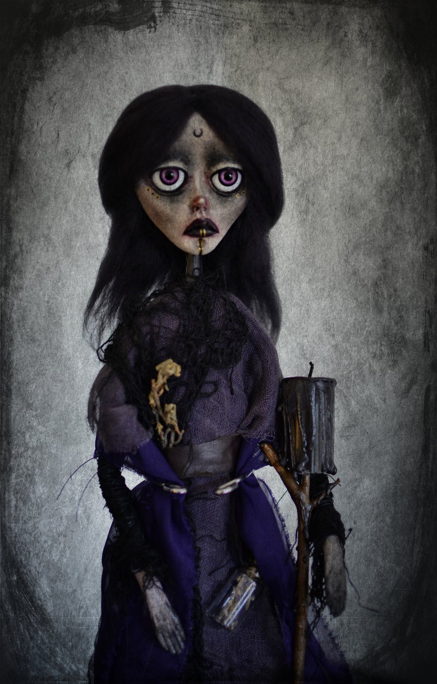 Image of OOAK Handmade Art Doll CORA. Witch/ shaman doll, dark doll, gothic doll, goth doll, pagan doll